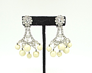 Rhinestone & Faux-pearl Earrings