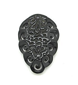 Black Carved Bakelite Dress Clip (Image1)