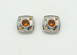 Square Earrings with Glass (Image1)