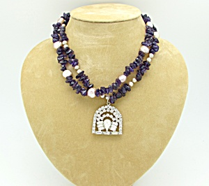 Amethyst Bead Necklace with Vintage Pendant  (Image1)