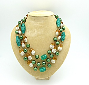 Tri Strand Mixed Media Bead Necklace (Image1)