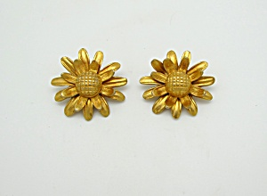 Gold Tone Metal Flower Earrings