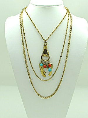 3 Stand Necklace with Pendant & Charms (Image1)
