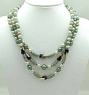 Three Strand Faux Green Pearl Necklace (Image1)