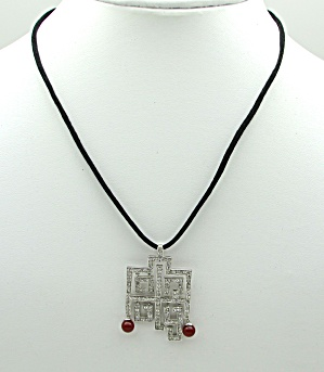 Sterling Art Deco Style Pendant on Cord   (Image1)