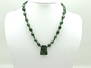 Green Feldspar Bead Necklace w/Pendant (Image1)