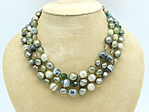 Hand Knotted 3 Strand Glass Bead Necklace   (Image1)