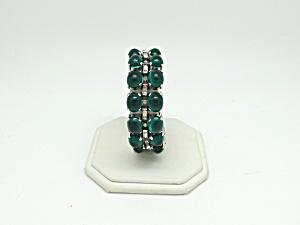 Trifari Art Deco Green Cabochon Bracelet   (Image1)