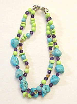 Turquoise and Stone Bead Necklace (Image1)