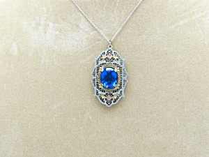Edwardian Filigree Pendant on Chain (Image1)