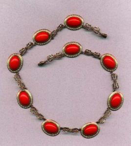 Czechoslavakian necklace.  Red glass cabachons with white enameling.  Brass filligree (Image1)
