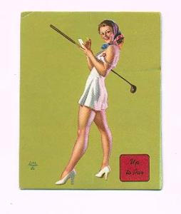 Earl Moran pin-up card- Up to Par (Image1)