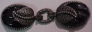 Black carved bakelite buckle with silvertone (Image1)