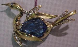 Sterling vermeil duck pin with blue glass belly and rhinestones (Image1)