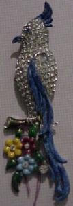 Enamel and rhinestone bird dress clip (Image1)