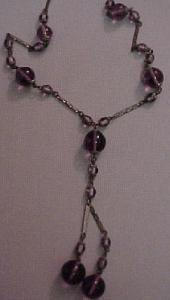 Czechoslovakian amethyst glass bead necklace (Image1)
