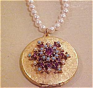 Locket w/faux pearls,turquoise & rhinestones (Image1)