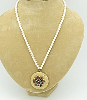 Snowflake Design Locket on Faux Pearls (Image1)