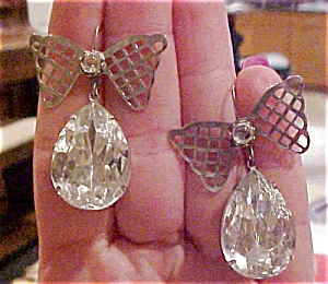 Bow earrings with rhinestones (Image1)