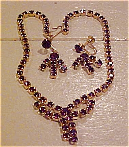 Purple rhinestone necklace and earrings (Image1)