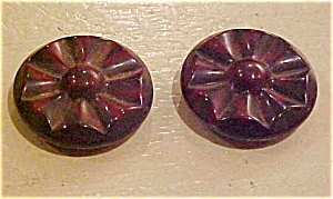 2 brown molded plastic buttons (Image1)