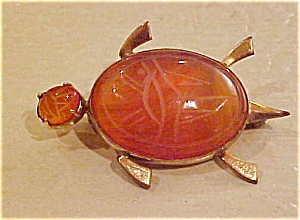 12k g.f. turtle pin w/etched glass body (Image1)