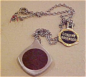Pewter and rosewood 1960's necklace (Image1)