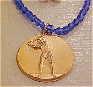 Blue Bead necklace with Baseball Charm (Image1)