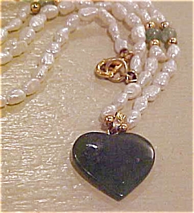 Jade Heart charm on freshwater pearls (Image1)