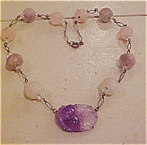 Czech necklace with carved quartz (Image1)