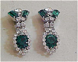 Green and clear rhinestone earrings (Image1)