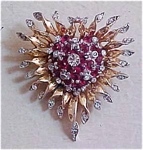 Sterling vermeil 1940's pin with rhinestones (Image1)