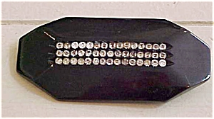 Black bakelite pin with rhinestones (Image1)