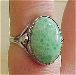 Czechoslovakian ring with chrysoprase (Image1)