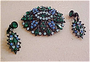 Rhinestone pin and earrings set (Image1)