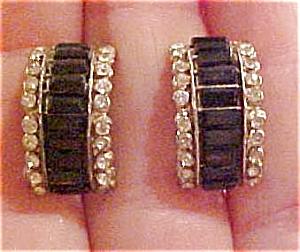 Black and clear rhinestone earrings (Image1)