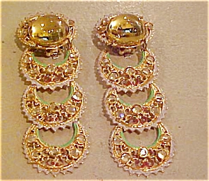 Yellow rhinestone earrings (Image1)