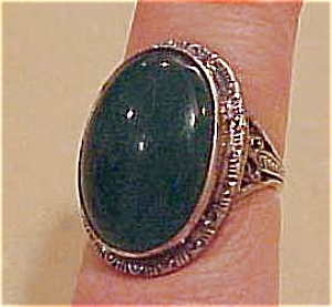 Sterling ring with green glass (Image1)