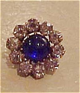 Rhinestone pin w/blue cabachon (Image1)