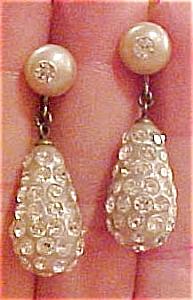Faux pearl & rhinestone earrings (Image1)
