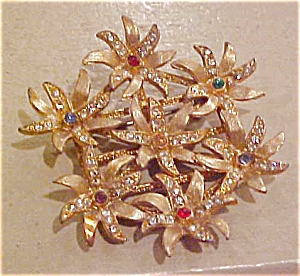 Floral pin with rhinestones (Image1)