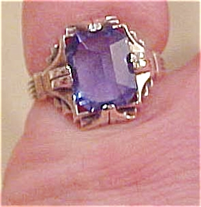 Sterling ring with blue glass (Image1)