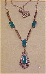 Marcasite and green glass necklace (Image1)