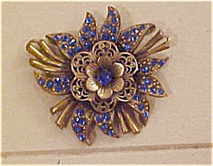 Czechoslovakian pin with blue rhinestones (Image1)