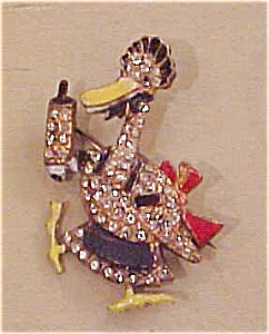 Enameled duck pin with rhinestones (Image1)