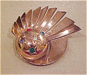 Engenue 1940's Retro pin with rhinestones (Image1)