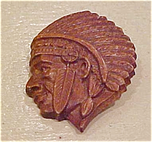 Faux wood indian head pin (Image1)