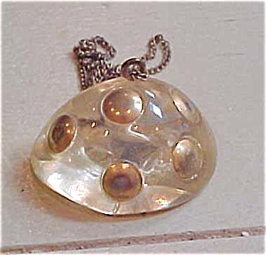 Lucite pendant with gold dots (Image1)