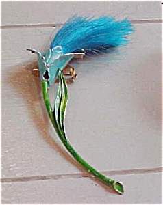 Enameled flower pin with fringe (Image1)