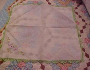 Handkerchief w/crocheted edge & Flowers (Image1)